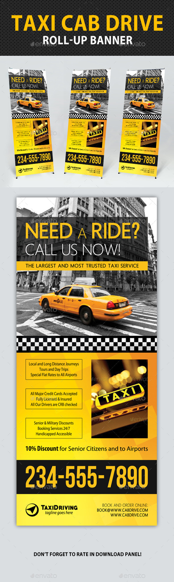 GraphicRiver Taxi Cab Drive Roll-Up Banner V2 11167828
