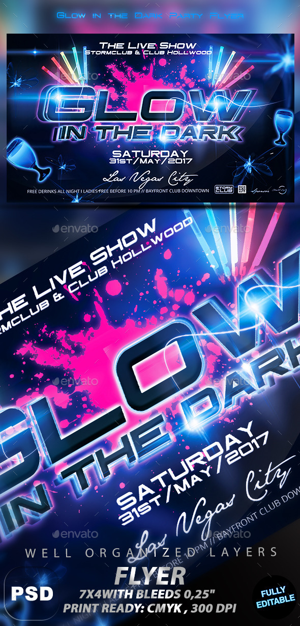 GraphicRiver Glow in the Dark Party Flyer 11123407