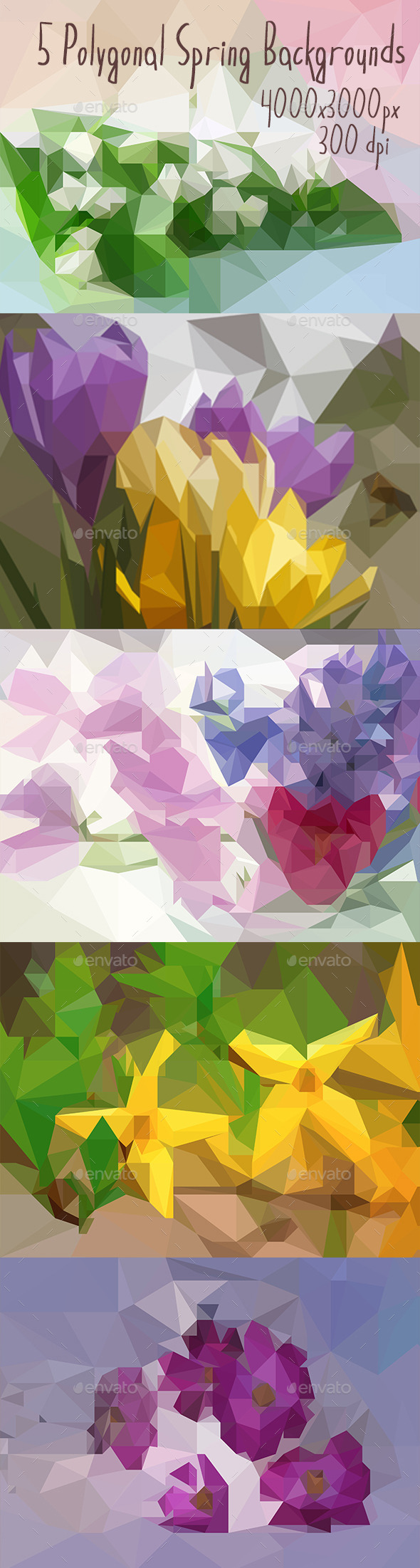 GraphicRiver 5 Polygonal Spring Backgrounds 11168900