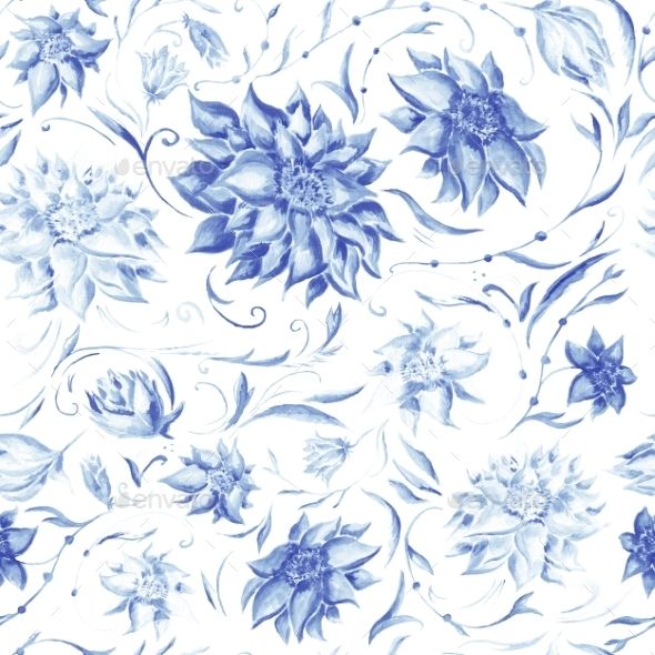 GraphicRiver Elegant Pattern with Indigo Flowers 11169671