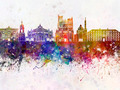 Amiens skyline in watercolor background - PhotoDune Item for Sale