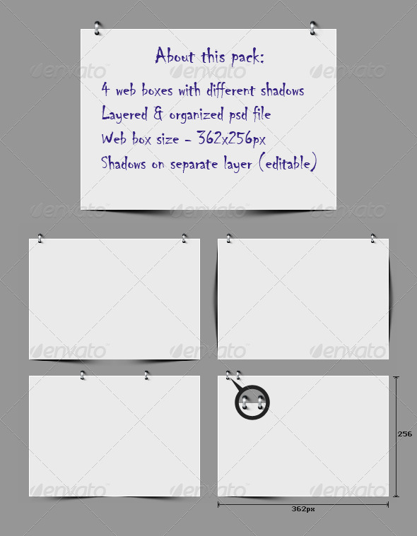 Web Boxes with Different Shadows - Forms Web Elements