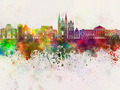 Angers skyline in watercolor background - PhotoDune Item for Sale