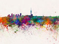 Auckland skyline in watercolor background - PhotoDune Item for Sale
