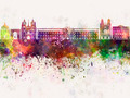 Dijon skyline in watercolor background - PhotoDune Item for Sale