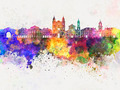 Rennes skyline in watercolor background - PhotoDune Item for Sale