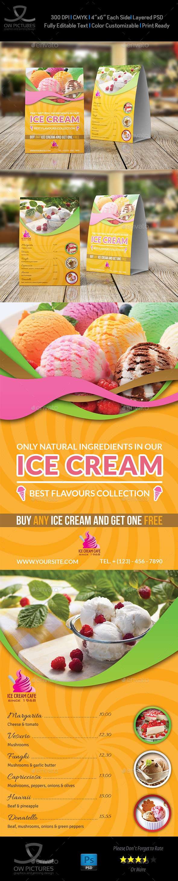 GraphicRiver Ice Cream Table Tent Template 11170448