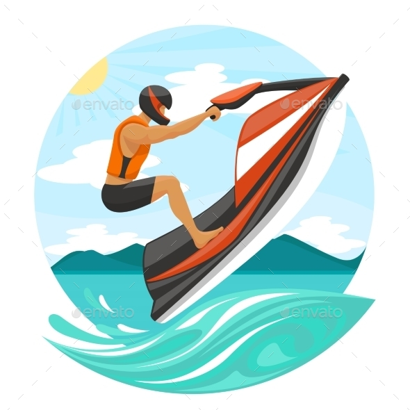 GraphicRiver Young Man on Jet Ski 11170457