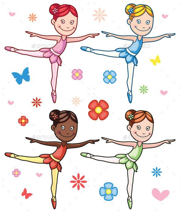 GraphicRiver Cartoon Little Girl Ballerina Set 11170720