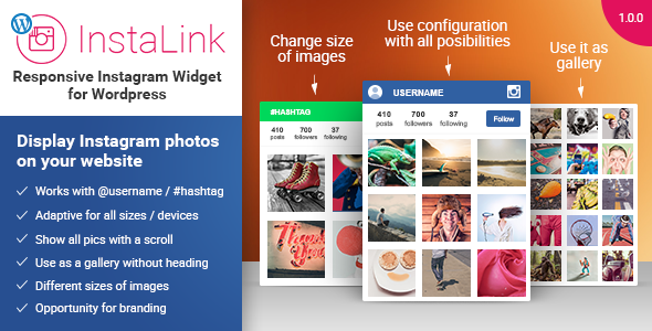 CodeCanyon InstaLink Responsive Instagram Widget Wordpress 11170758