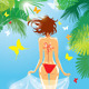 Woman in Bikini Swimwear at Tropical Beach - GraphicRiver Item for Sale