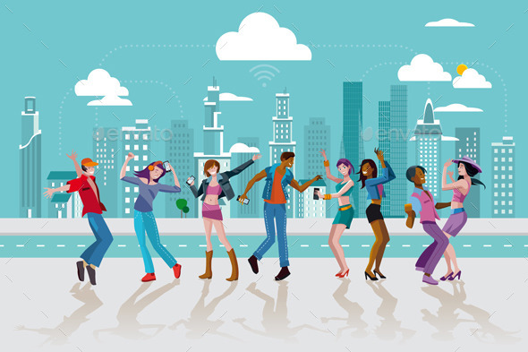GraphicRiver Young People Dancing In a City 11171522