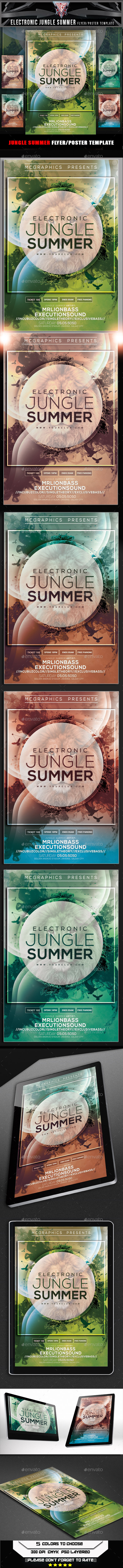 GraphicRiver Electronic Jungle Summer Flyer Template 11107133