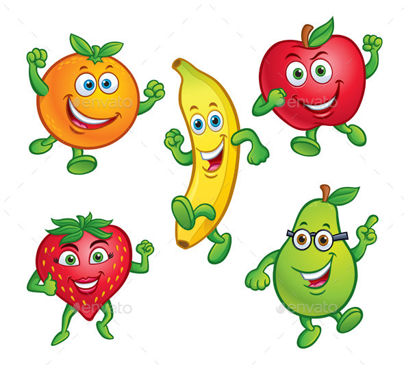 Cartoon 5 Characters : Cartoon fruit dondrup
