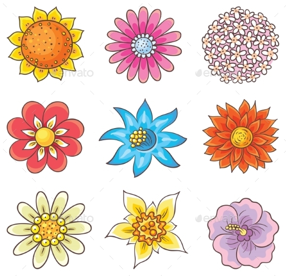 GraphicRiver Cartoon Hand Drawn Flowers 11173007