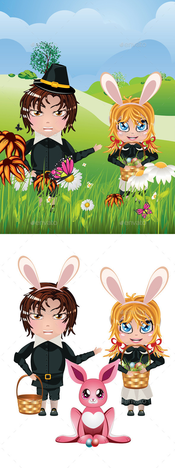 GraphicRiver Easter Boy and Girl 11173024