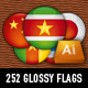 Ultimate 252 glossy round vector flags - GraphicRiver Item for Sale