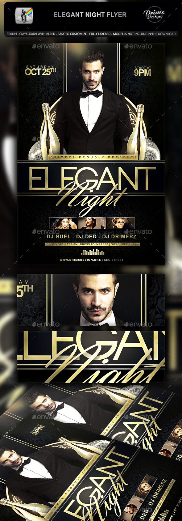 GraphicRiver Elegant Night Flyer 11173318