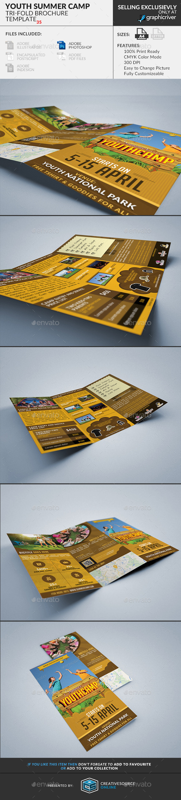 GraphicRiver Trifold Brochure 35 Summer Youth Camp 11173591