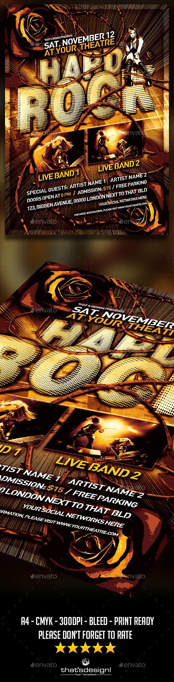 Hard Rock Flyer Template - Print Templates