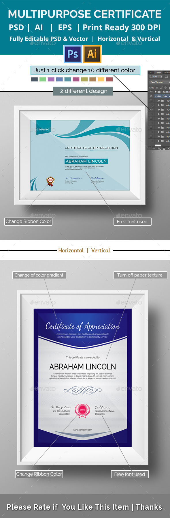 GraphicRiver Simple Multipurpose Certificate GD020 11174315