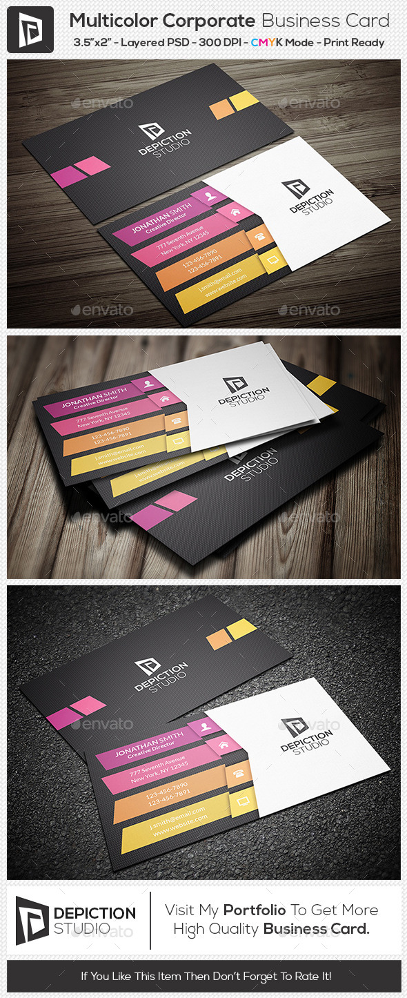 GraphicRiver Multicolor Corporate Business Card 11122240
