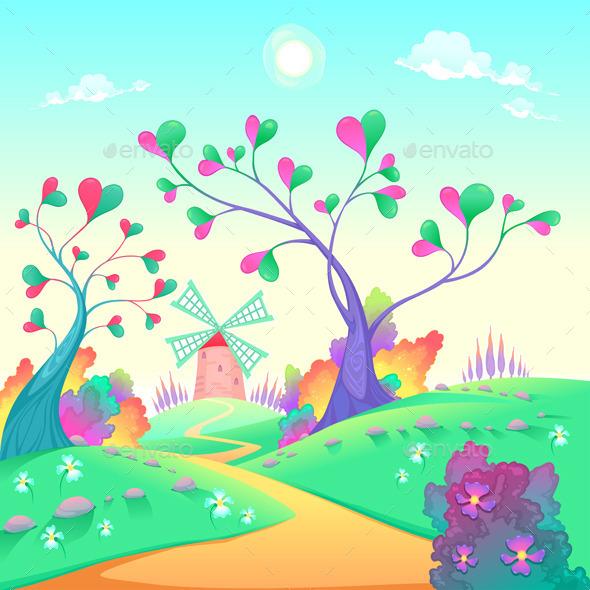 GraphicRiver Landscape with Windmill 11174561