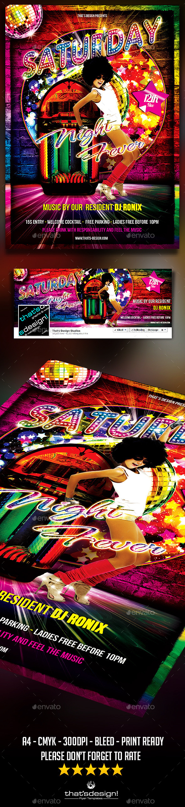 Saturday Night Fever Flyer Template - Clubs & Parties Events