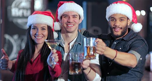 Friends in Santa hats