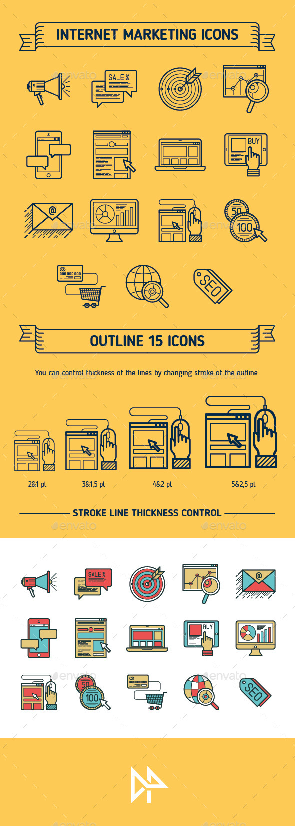 GraphicRiver Marketing Outline & Colored Icons 11176890