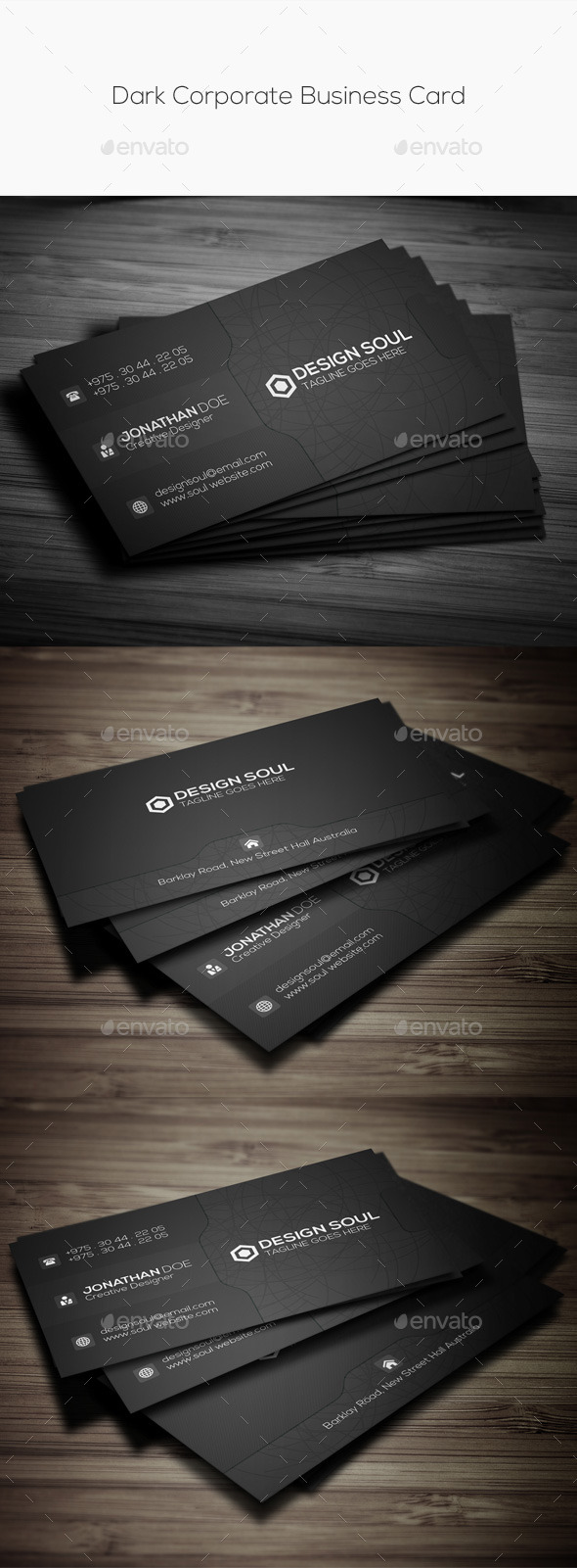 GraphicRiver Dark Corporate Business Card 11177278