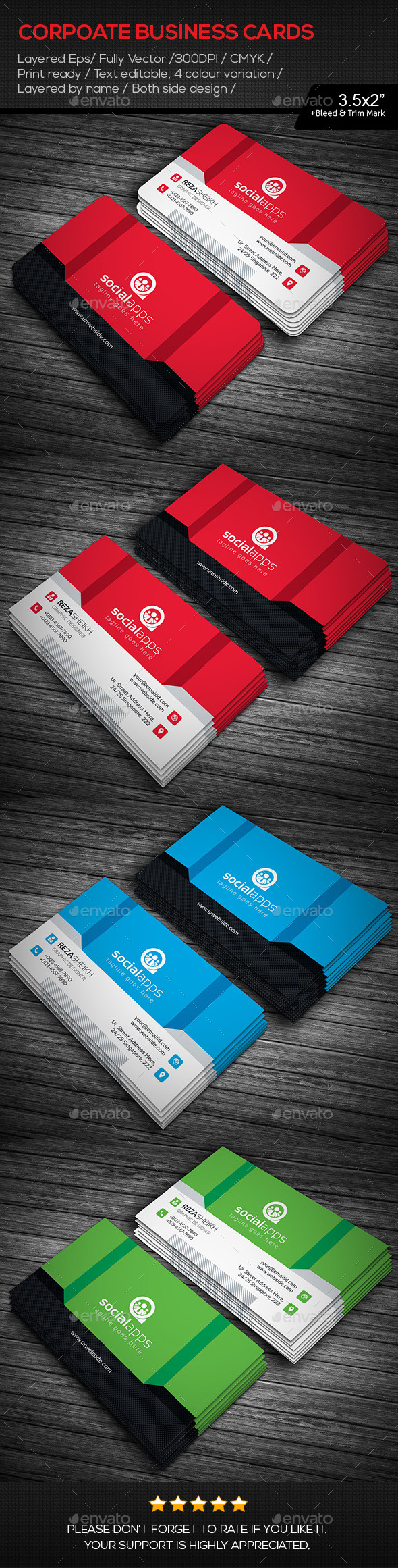 GraphicRiver Social Apps Business Cards 11177361