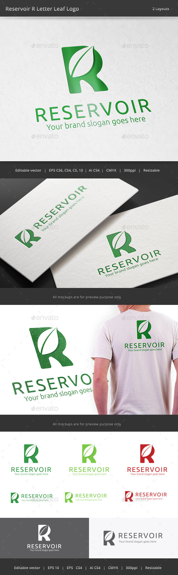 GraphicRiver Reservoir R Letter Leaf Logo 11177492