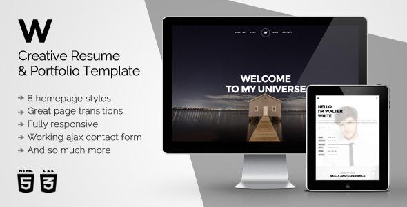 ThemeForest White Creative Resume & Portfolio Template 11049117