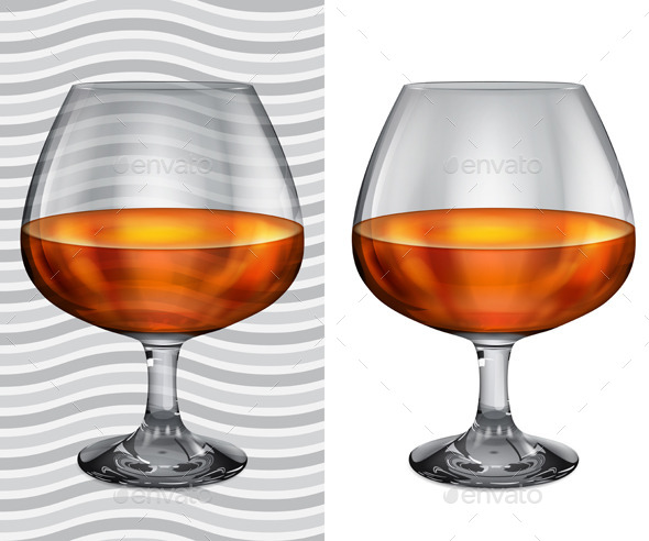 GraphicRiver Transparent and Opaque Full Brandy Glasses 11177978