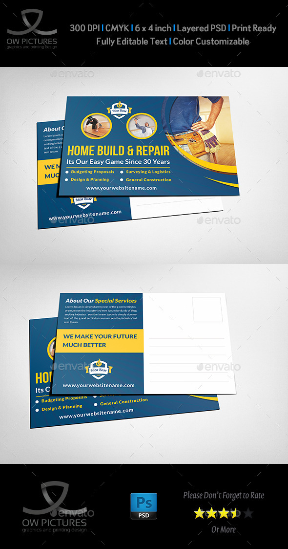 GraphicRiver Construction Postcard Template 11178397