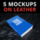 5 Book Mockups on Leather - GraphicRiver Item for Sale