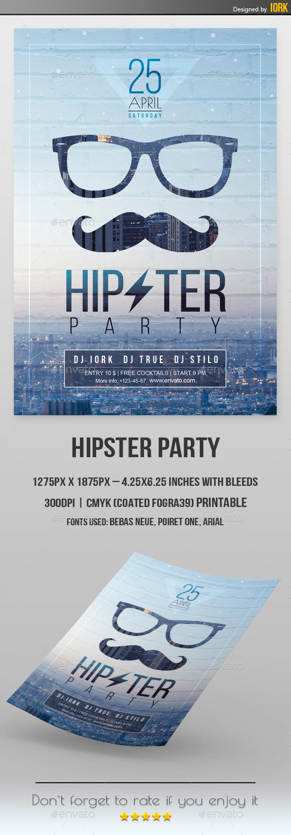 GraphicRiver Minimal Hipster Party Flyer 11178742