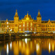 Night Amsterdam canal and Centraal Station - PhotoDune Item for Sale