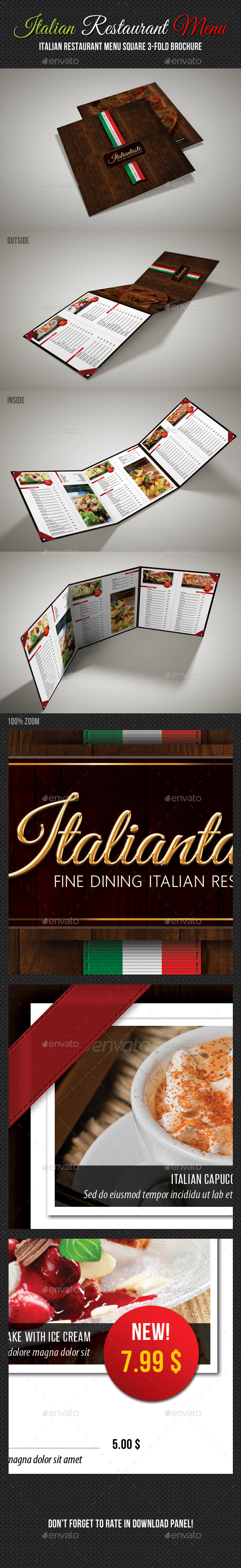 GraphicRiver Italian Restaurant Menu Square 3-Fold Brochure 11179128