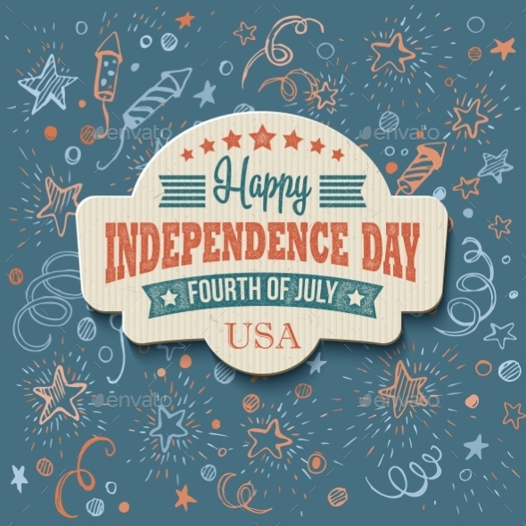 GraphicRiver Retro Typography Independence Day Card 11179220