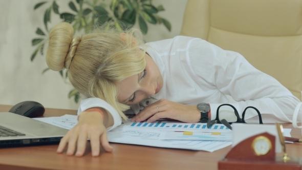 Nice Girl Fell Asleep On The Job In Office