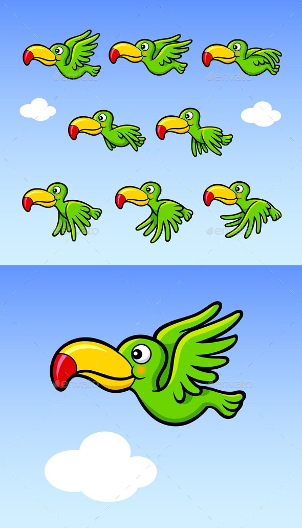GraphicRiver Flying Happy Bird Sprite Game Asset 11179527