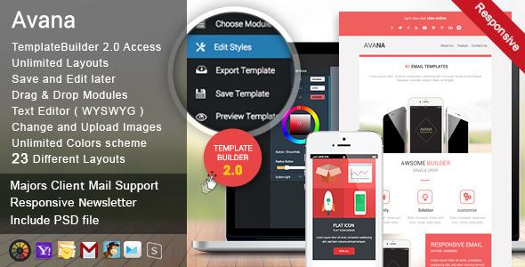 ThemeForest Avana Responsive Email & MailBuild Online 11175695