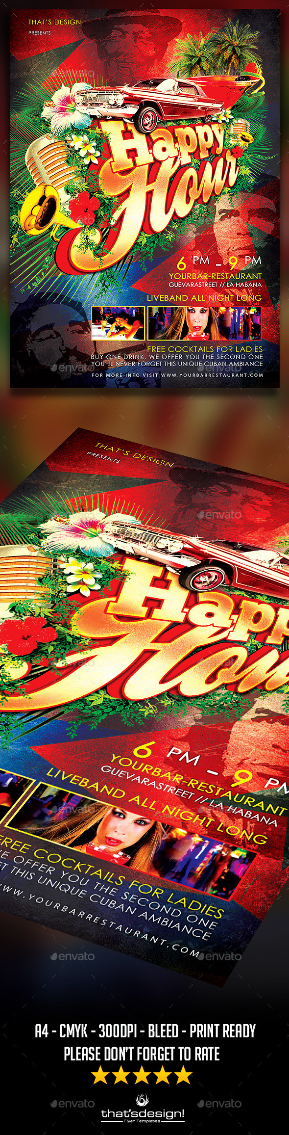 Tropical Cuban Happy Hour Flyer Template - Clubs & Parties Events