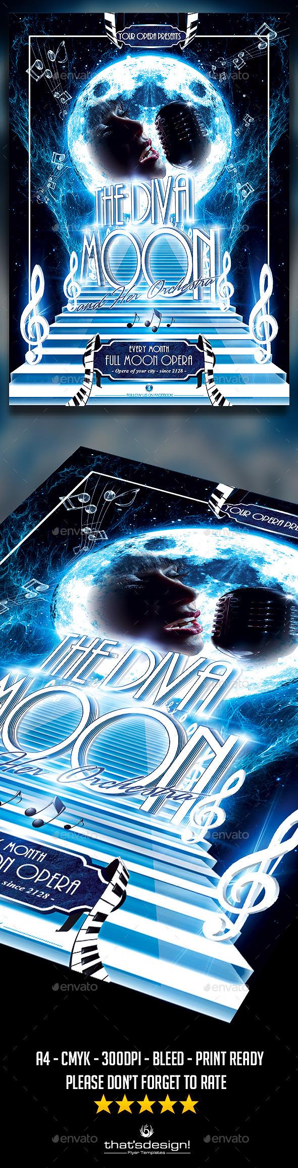 Retro Futuristic Full Moon Opera Flyer - Miscellaneous Events