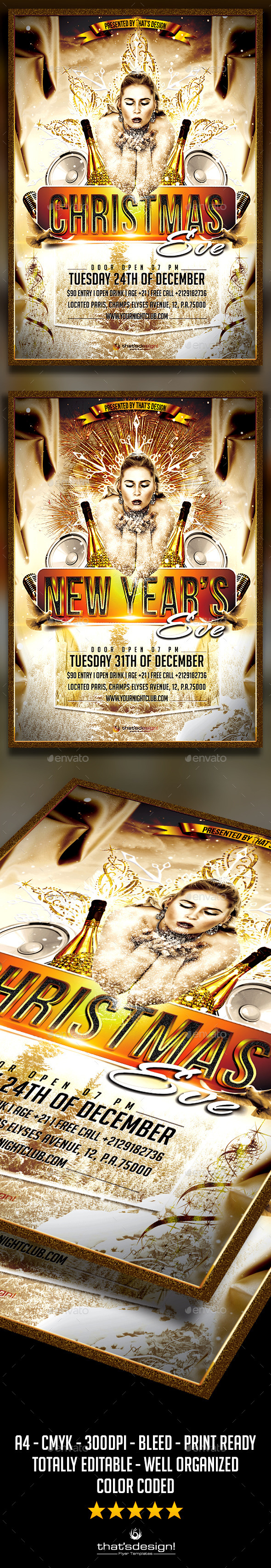 Christmas / New Year Flyer Template - Holidays Events