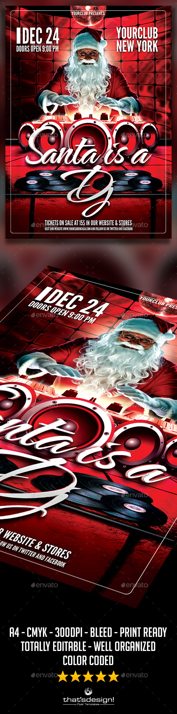 Santa is a DJ Flyer Template - Clubs & Parties Events