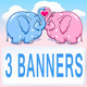 Lovers Little Elephants Banners - GraphicRiver Item for Sale
