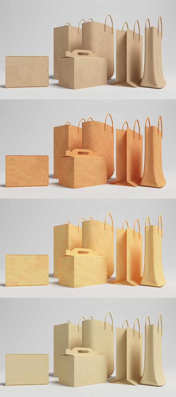 Bags And Box Vray - (C4D) - 3DOcean Item for Sale